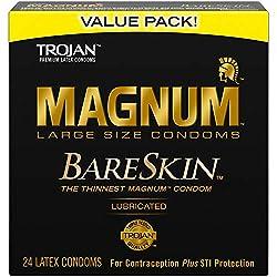 powerful TROJAN MAGNUM BARESKIN Top quality large latex condoms, 24 pieces.
