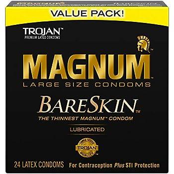 TROJAN MAGNUM BARESKIN Large Size Condoms 24 Count