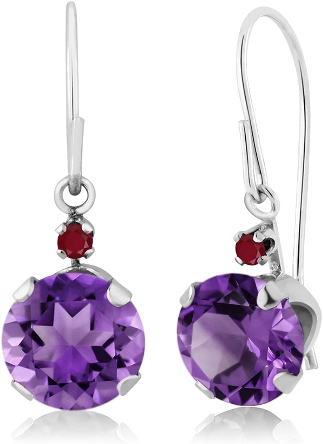 1.54 Ct Round Purple Amethyst Red Ruby 14K White gold Earrings