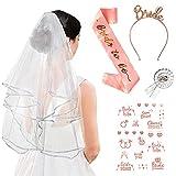 Bride to Be Ebufanda para despedida de soltera, accesorio de decoración, brida de Sash, velo de novia, insignia, tiara de boda, tatuaje temporal