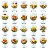 Prettyard Organic Variety Flavors Blooming Tea Flowers, Chinese Artistic Flowering Green Tea Ball Gift Set - Handmade Natural Green Tea Leaves + Edible Flowers - 60PC/Set = 3x(20 Different Flavors)