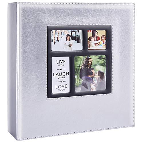 Ywlake - Album fotografico in pelle, 10 x 15 cm, 1000 foto, vintage, per matrimonio, famiglia, album fotografico, con pagine nere per 1000 tasche, colore: Argento