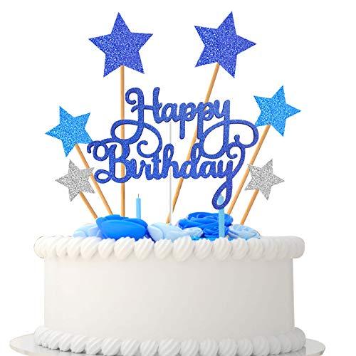 VAINECHAY Blu Glitter Stella compleanno Cake Topper,candeline compleanno particolari,Happy Birthday Cake Topper,Decorazione Torta di Compleanno,decorazioni torte