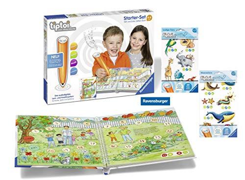 tiptoi Ravensburger 00803 - Starter-Set: Stift und Buch Erste Zahlen + 2X Create Stickerbögen- die ersten sprechenden Sticker