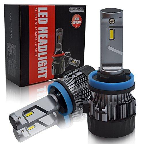 BeiLan Bombilla H11 LED Coche,60W 10000LM H8 H9 Faros Delanteros Bombillas para Moto, Reemplazo de la Luz Halógena, 12V-24V, Xenon Blanco 6500K, 2 Lámparas