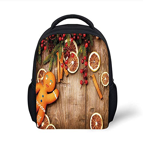 Kids School Backpack Gingerbread Man,Rustic Composition with Holly Berry Orange Slice Cinnamon and Biscuit Decorative,Brown Orange Red Plain Bookbag Travel Daypack