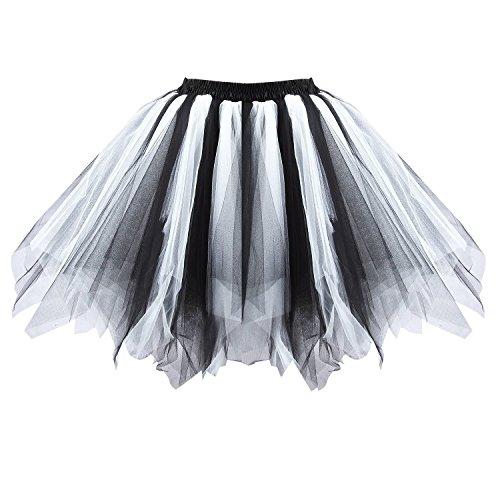 Honeystore Damen's Tutu Unterkleid Rock Abschlussball Abend Gelegenheit Zubehör Schwarz und Weiß A520626120110