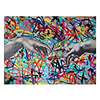 """クリエイティブバンクシーグラフィティアートハンドインハンドキャンバス絵画ポスターとプリントウォールアート写真リビングルームの家の装飾19.6"""" x31.4""""(50x80cm)フレームなし"""