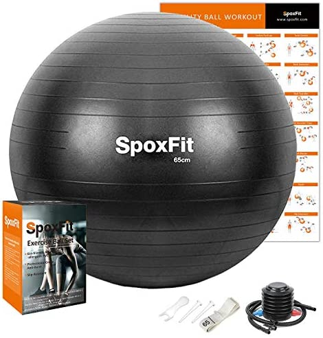 SpoxFit Exercise Ball 65cm Anti Burst Yoga Ball Stability Fitness Ball for Birthing Core Strength product image