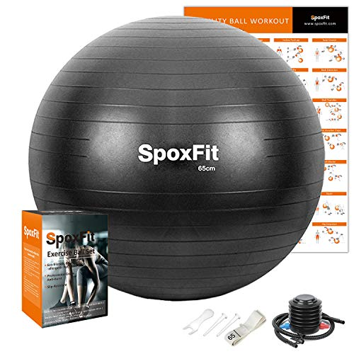 SpoxFit Exercise Ball, 65cm Anti-Burst Yoga Ball, Stability Fitness Ball for Birthing & Core Strength Training, Includes Quick Pump & Workout Poster-Black