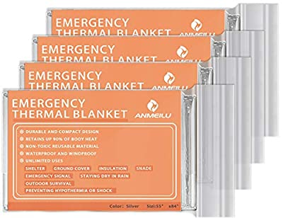 ANMEILU Emergency Mylar Thermal Blankets -Space Blanket Survival kit Camping Blanket (4-Pack). Perfect for Outdoors, Hiking, Survival, Bug Out Bag ?Marathons or First Aid