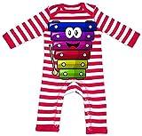Hariz - Pagliaccetto per bambini a righe, con xilofono e strumento ride per bambini Witizg, biglietto regalo incluso, colore: rosso/bianco lavato