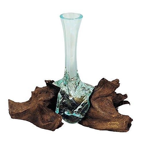 Beho Natürlich gut in Holz Vase aus Glas auf Wurzelholz 2831 tolle Geschenkidee Höhe ca. 25 cm mundgeblasen Unikat