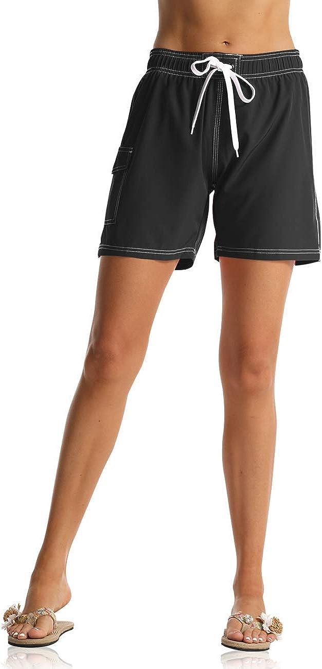 unitop Womens Bathing Boardshorts Swim Shorts Quick Dry with Lining