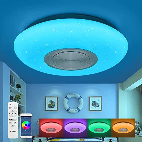 Bluetooth Deckenleuchte 25W Ø 30CM LED Deckenlampe mit Lautsprecher, Fernbedienung und APP-Steuerung, JDONG RGB Farbwechsel, dimmbar, sternen, IP44 Wasserfest
