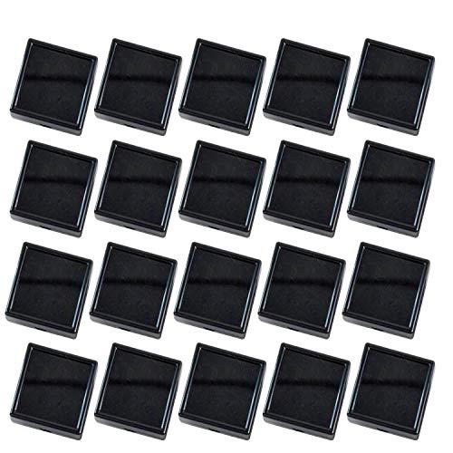 ルボナリエ コレクションケース アクリルケース ブラック 3cm x 3cm 20個 透明ピアス ジュエリーケース 小物ケース ピアスケース ディスプレイケース 天然石 石 宝石 ケース 小物 プラケース (ブラック, 3cm x 3cm, 20個)