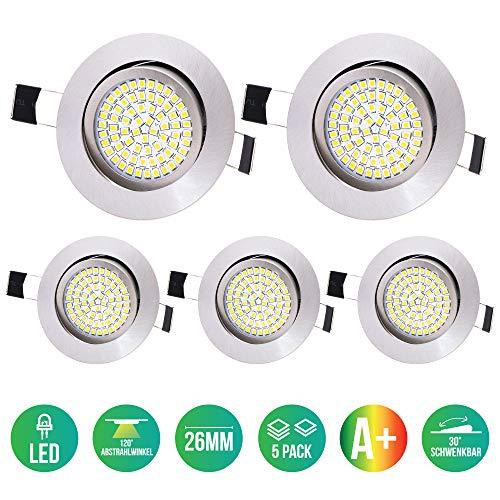 5 x Lu-Mi LED Einbaustrahler Flach 230V - Deckenspots Ultra Flach Einbaustrahler / 350 Lumen / 230V / 3,5W / Licht: Warmweiss 3200K / Gehäuse Rund (Edelstahl gebürsted)