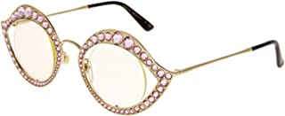 5c11bf04774 GUCCI CRYSTAL LIPS Stud 0046 Gold Pink Metal RX Frame Glasses Sunglasses  GG4287S