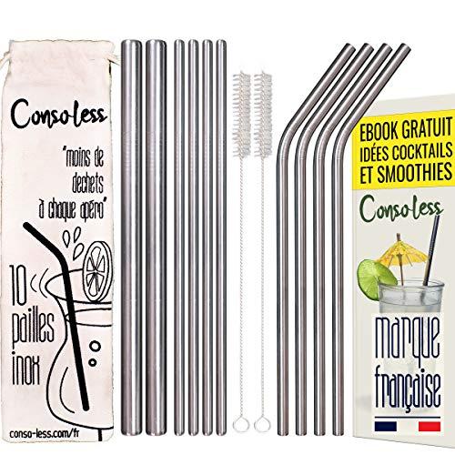 Consoless 13PC Pailles INOX Réutilisables avec 2 Brosses de Nettoyage, Sac de Rangement, Pailles en Métal Diamètre de 6mm et 12mm avec EBOOK idées Cocktails Smoothie Milkshake Café Boissons Chaude