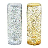 Playlearn Sensory Glitter Calm Down Jar with LED Lights - Sensory Tube Fidget Toy - Gold and Silver - 2 Pack - Focusing and Relaxing Tool for All Ages