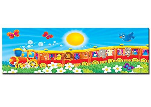 Berger Designs - Wandbild für das Kinderzimmer auf Leinwand als Kunstdruck in verschiedenen Größen. Lustiger Zug mit Tieren. Beste Qualität aus Deutschland (90 x 30 cm (BxH))
