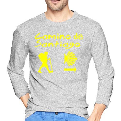 Patrick R Garrett Camino de Santiago Compostela Camisetas de Manga Larga Estampadas para Hombre Camiseta con Estilo Informal para Ropa de Calle