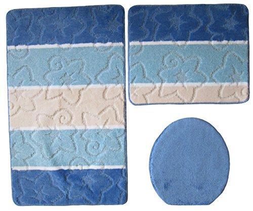 Ilkadim Orion Badgarnitur 3 TLG. Set 50x80 cm Mehrfarbig gestreift, WC Vorleger ohne Ausschnitt für Hänge-WC (blau hellblau Creme)