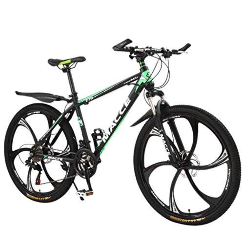 Kohlenstoffreicher Stahl Strong 26 Zoll Mountainbike Fully, geignet ab 160 cm-180cm, Scheibenbremse vorne und hinten, , Vollfederung, Jungen-Herren Fahrrad, mit Vorder- und Hinterschutzblech (Grün)