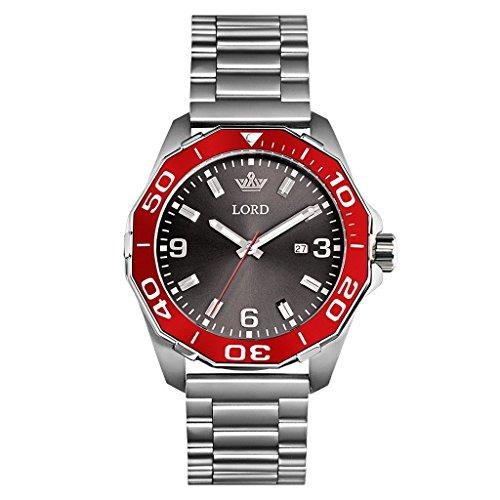 Lord Timepieces Luxus Herren Sport Silber Uhr - Silber Edelstahlband - 45mm Miyota Quarzuhr