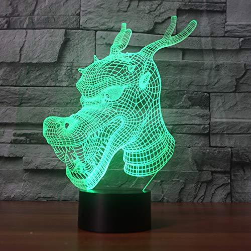 Luz nocturna Dragón chino LED efecto ilusión óptica 3D, 7 colores lámpara de escritorio con control táctil la decoración del Dormitorio para niños Navidad Halloween Regalo de cumpleaños