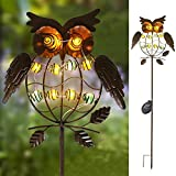 TAKE ME Garden Solar Lights Outdoor,Solar Powered Stake Lights - Metal OWL LED Decorative Garden Lights for Walkway,Pathway,Yard,Lawn (Bronze)
