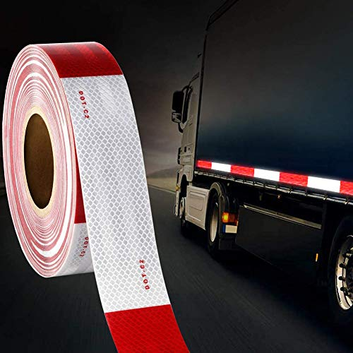 TYLife DOT-C2 Reflective Safety Tape,2 in x 150ft Waterproof Red and White Adhesive Reflector Tape, Conspicuity Tape,Reflective Stickers for Trailers, RV, Camper, Boat Trailers, RV, Camper, Boat