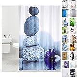 Duschvorhang, viele schöne Duschvorhänge zur Auswahl, hochwertige Qualität, inkl. 12 Ringe, wasserdicht, Anti-Schimmel-Effekt (180 x 200 cm, Energy Stones)