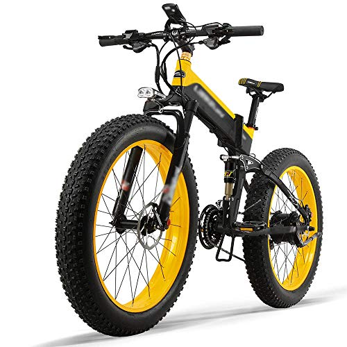 Bicicleta Eléctrica Plegable 500W 40km/h Ruedas Anchas 26 x 4 Pulgadas Bateria Removible 48V 12,8AH Shimano 27 Velocidades Bicicletas de Montaña/Carretera/Playa/Nieve para Hombres [EU Stock]