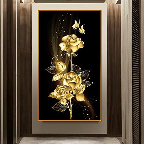 Deike Mild Diamond Painting 5D Full Bohrer Diamant Malerei Handgemachtes Gold Rose Bilder Wohnzimmer Wanddekoration (40X60cm)