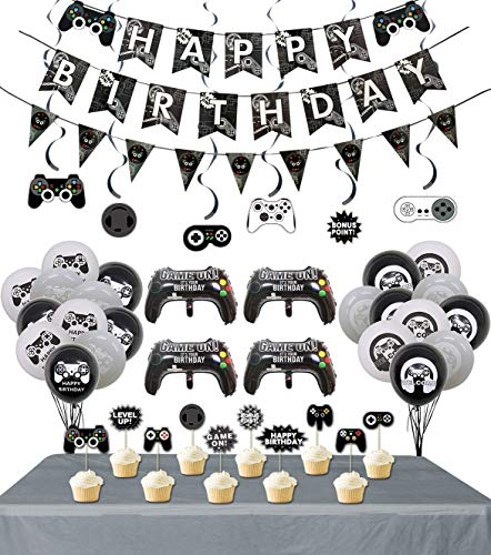 Video Game Party Supplies, 3 Pcs Gaming Themed Happy Birthday Banner and Flag, 1pcs Table Cloth, 6 Pcs Hanging Swirls, 10 Pcs Cake Topper, 19 Pcs Video Game Themed Balloons for Kids Birthday