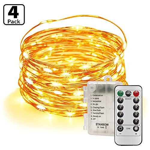 Led Lichterkette Batterie 5m Kupferdraht Lichterkette mit Fernbedienung Innen außen Fairy Lights für Zimmer, Party, Hochzeit, Weihnachten usw. (4 Stück/Warmweiß)
