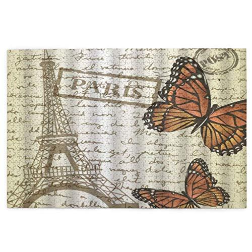 Rompecabezas para adultos 1000 piezas mariposa París paisaje de la ciudad europea Francia Torre Eiffel Arte Vintage Flor difícil rompecabezas juego para jóvenes adultos