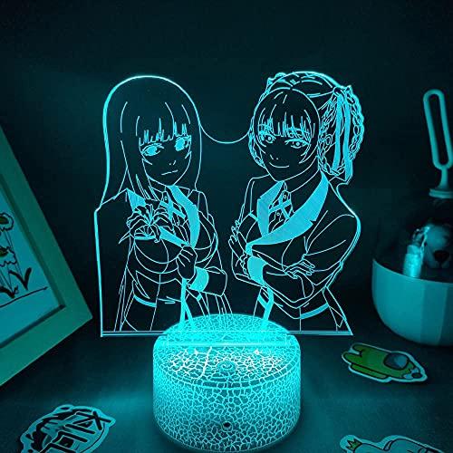 Hermoso regalo para niño, luces LED RGB 3D de noche, anime Kakeguru y figura Meari Saotome Jabami Yumeko para amigos, lámpara de lava, cama, mesa, decoración fresca