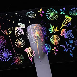 Barhunkft(TM) 10pcs Holographic Nail Art Foil Rose Butterfly Dandelion Fire Transfer Stickers