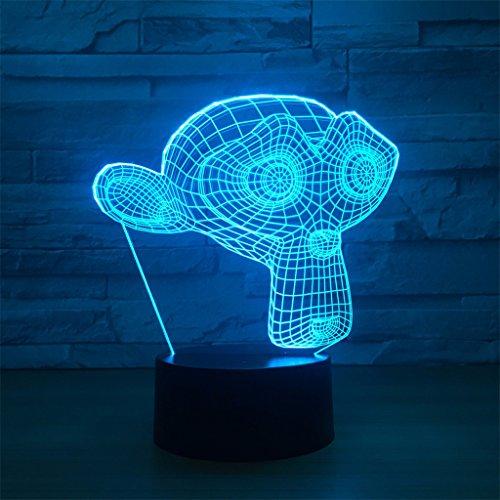 LT&NT Lampe 3D Singe Illusion d'Optique LED Lights Table Lampe veilleuse 7 Couleurs changeantes USB Tactile Distant noël Cadeaux d'Anniversaire pour Les Enfants -Touch + Télécommande
