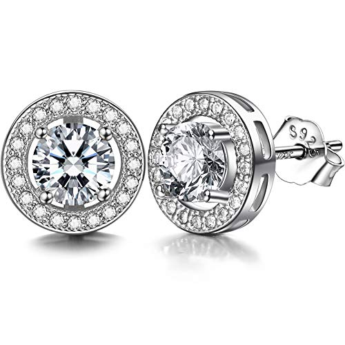 Lydreewam 925 Sterling Silver Stud Earrings for Women Men With 3A 6MM Round Cubic Zirconia