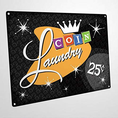 Black Coin Laundry for Bath Or Custom Aluminum Metal Sign | UV Printed Street Metal Sign for St.Patrick's Day,Garage,Yard,Road,Highway.