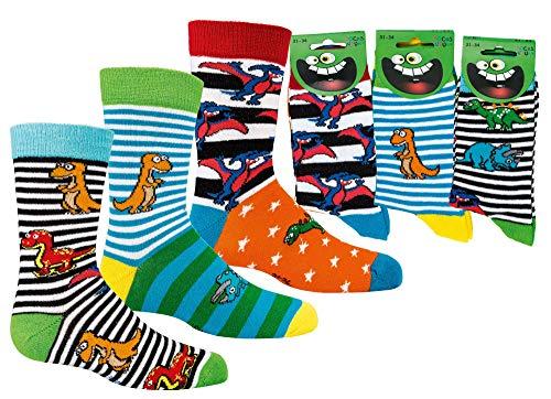 FussFreunde Kinder Socken 6 Paar Jungen oder Mädchen,Schadstoffgeprüfte Textilien nach Öko-Tex Standard 100 (Dino, 27/30 = 5-6 Jahre)