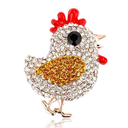 HUNANANA Crystal Brooch Pin Alloy Chick Brooches For Women Trendy Rhinestone Brooch Enamel Brooches Jewelry Decoration