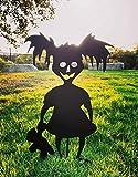 Ironic Art Halloween Cute Spooky Zombie Girl Metal Yard Art | Halloween Yard Stakes, Groundbreakers for Halloween Yard Decorations (Black)