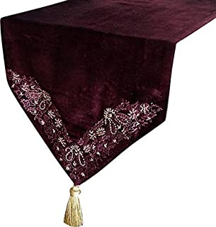 Handmade, Designer, Decorative Table Runners - Burgundy, Purple, Gold - 14 x 64 inch - Cotton - Burundy Velvet with Bead & Sequin Hand Embroidery Table Runner, with Gold Tassles for Dining Table