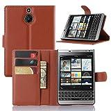 Oujiet-eu CN Funda para Blackberry Passport Funda Flip Cuero de la PU+ Cover Case de Silicona Protección Fija 1
