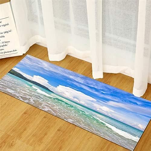 HLXX Alfombra de playa de piedra de impresión antideslizante para cocina, salón, balcón, baño, alfombra para puerta A1, 50 x 160 cm
