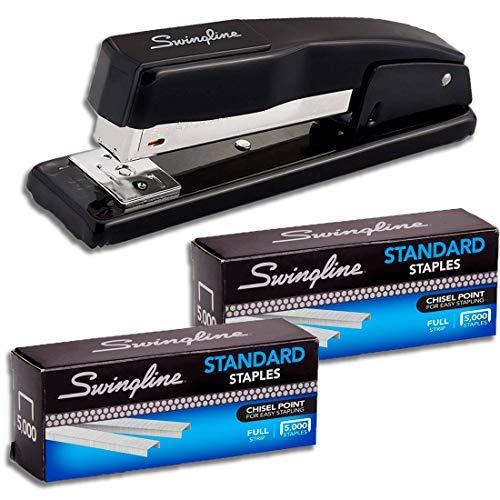 """Swingline Stapler Bundle of 2: Desk Stapler, 20 Sheet Capacity (Black) & 2 Pack of Standard Staples (1/4"""" Length, 210/Strip, 5000/Box)"""